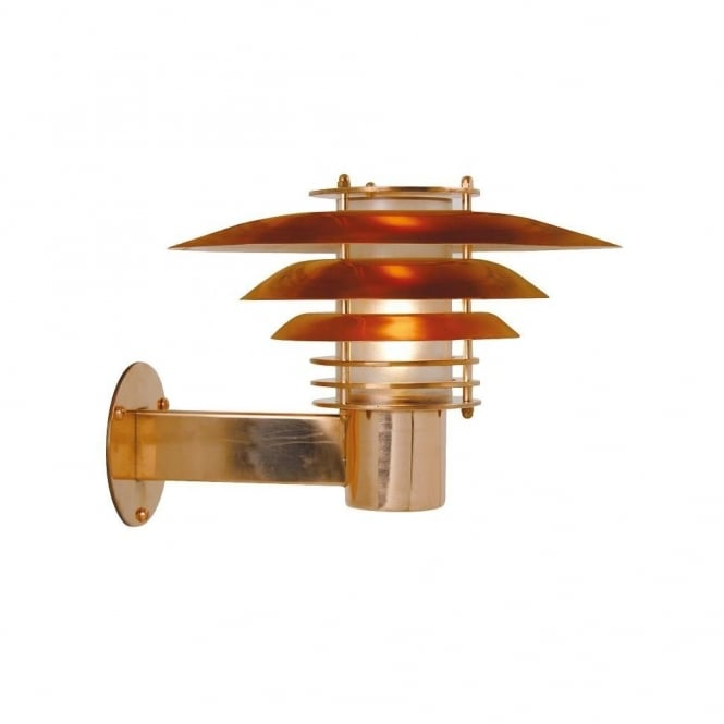 Small Exterior Wall Light Polished Copper - Lighting and Lights UK