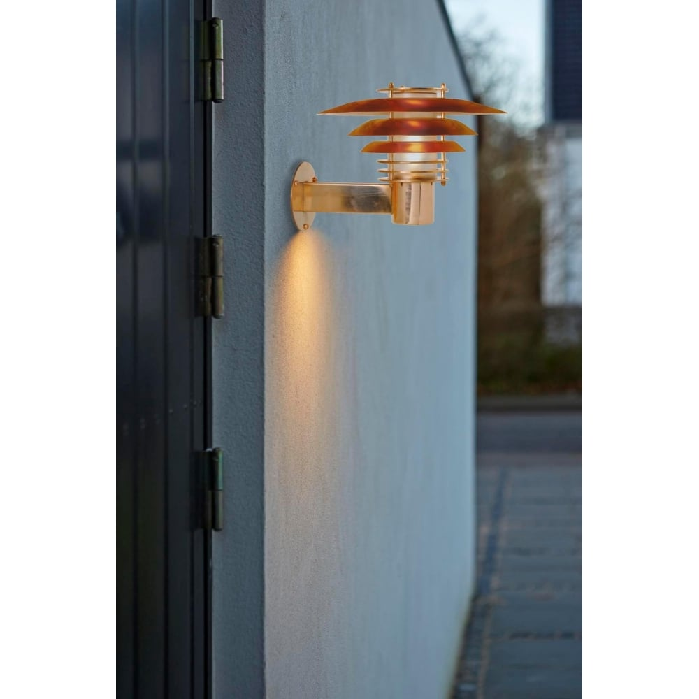 small exterior wall light polished copper lighting and lights uk