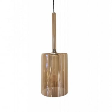 TURID - 10cm Slim Amber Glass Cylindrical Ceiling Pendant