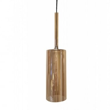 TURID - 8cm Slim Amber Glass Cylindrical Ceiling Pendant