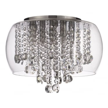 NORE - Small Bathroom Flush Ceiling Light with Glass Shade with LED Bulbs Included