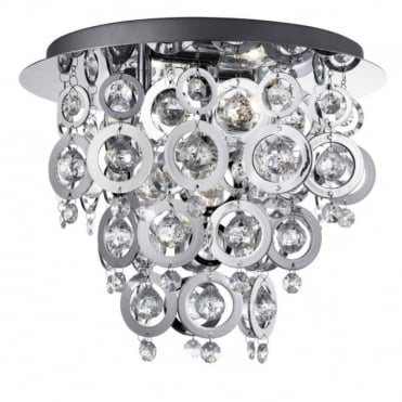 NOVA - 3 Light Ceiling Flush Ceiling Chrome With Chrome Acrylics R