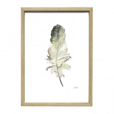 OAK - Picture Frame and Feather in Green, Taupe