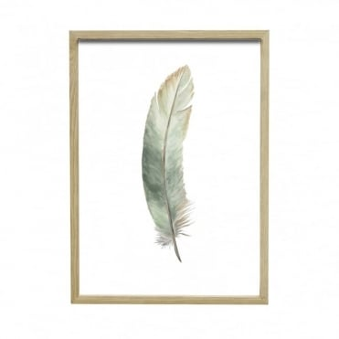 OAK - Picture Frame and Feather in Green, Taupe, Wood/Wood Effect