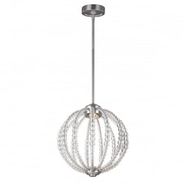 OBERLIN Small LED Ceiling Pendant Orb Nickel Crystal Detailing