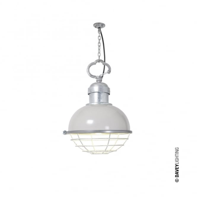 OCEANIC - Industrial Ceiling Pendant Putty Grey with Cage