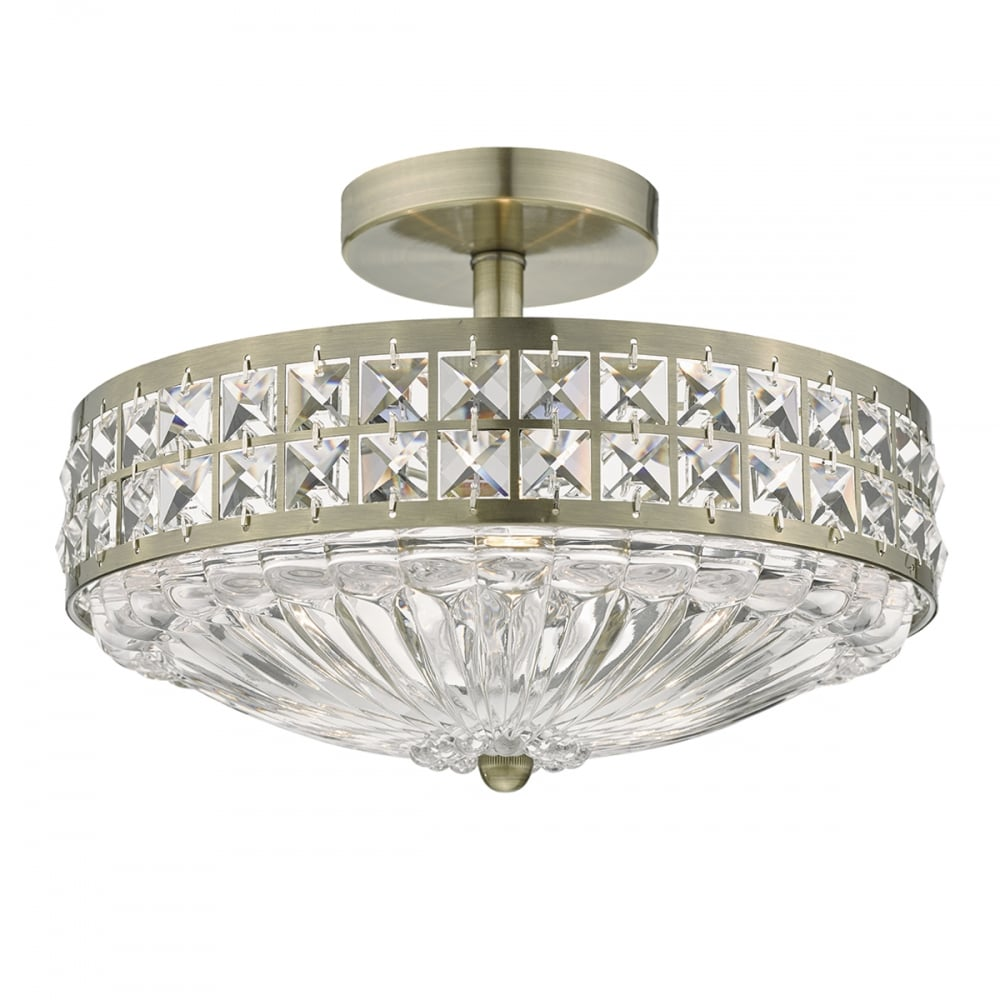Olona 3 Light Semi Flush Ceiling Antique Brass And Clear Crystal