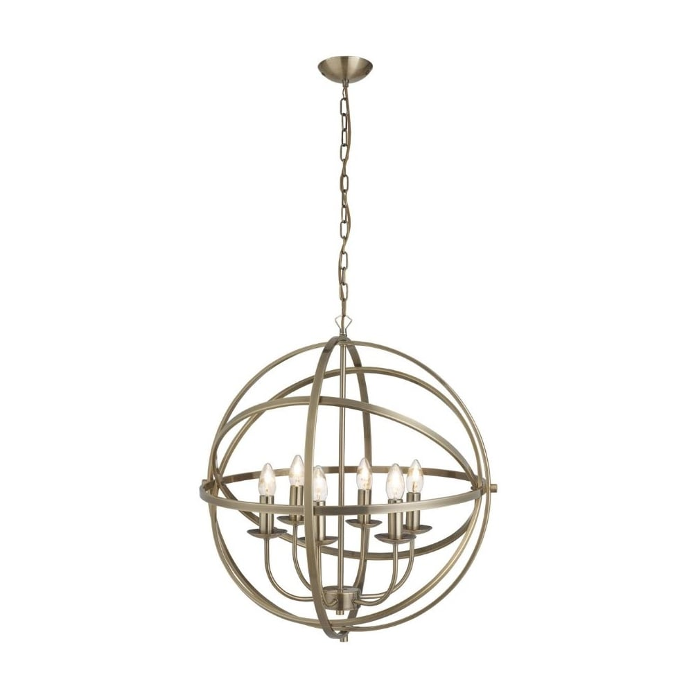 Gyroscope Ceiling Pendant Candle Antique Brass Lighting