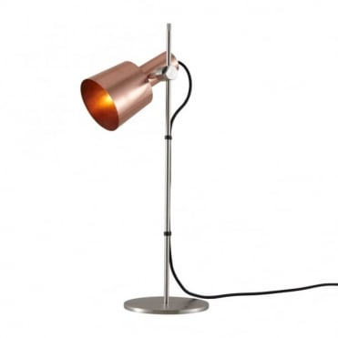 CHESTER - Table Light Satin Copper Black Braided Cable