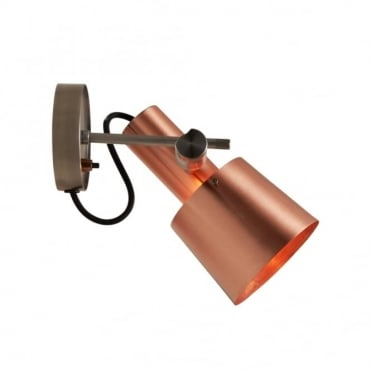 CHESTER - Wall Light Satin Copper Black Braided Cable