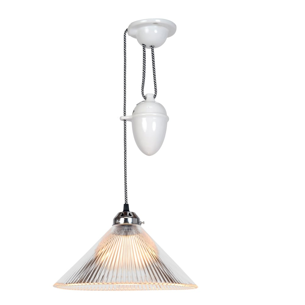 Industrial Rise And Fall Pendant Light: COOLIE Prismatic Rise And Fall Pendant Light