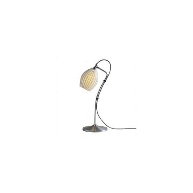 FIN - Natural White Ribbed Bone China Shade Table Lamp In Satin Chrome
