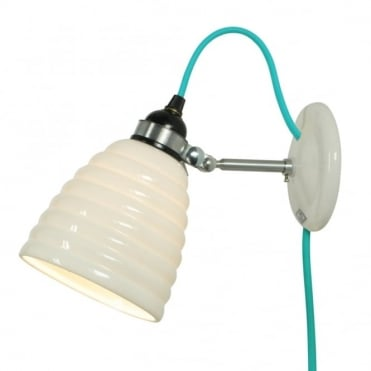 HECTOR - Bibendum Bone China Wall Light with Plug and Switch - Turquoise Cable