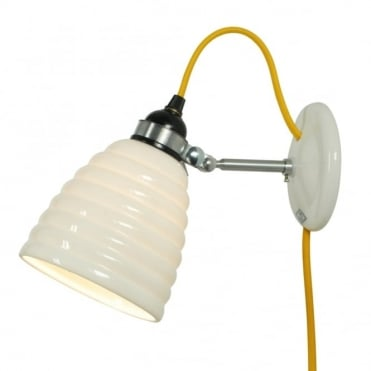 HECTOR - Bibendum Bone China Wall Light with Plug and Switch - Yellow Cable