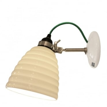 HECTOR - Bibendum Ridged Natural Fine Bone China Wall Light - Green Cable