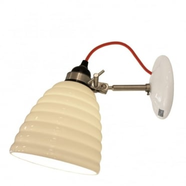 HECTOR - Bibendum Ridged Natural Fine Bone China Wall Light - Red Cable