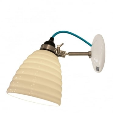 HECTOR - Bibendum Ridged Natural Fine Bone China Wall Light - Turqouise Cable