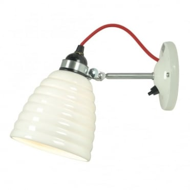 HECTOR - Bibendum Ridged Natural Fine Bone China Wall Light with Switch - Red Cable