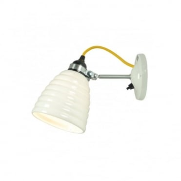 HECTOR - Bibendum Ridged Natural Fine Bone China Wall Light with Switch - Yellow Cable