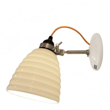 HECTOR - Bibendum Ridged Natural Fine Bone China Wall Light - Yellow Cable