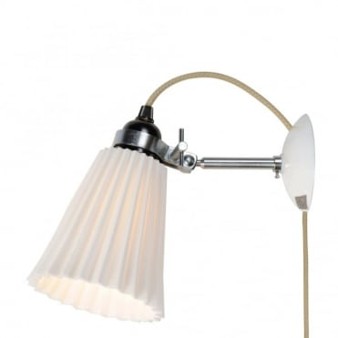 HECTOR - Medium Pleat Wall Light Plug Switch and Cable Natural