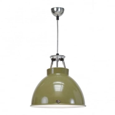 TITAN - Size 1 Ceiling Pendant Light Olive Green/White Interior