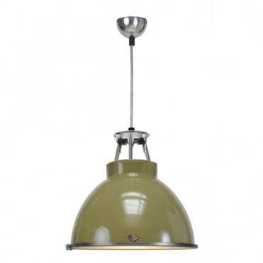 TITAN - Size 1 Ceiling Pendant Light Olive Green With Etched Glass