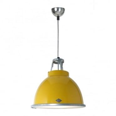 TITAN - Size 1 Ceiling Pendant Yellow With Etched Glass