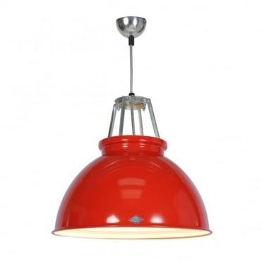 TITAN - Size 3 Ceiling Pendant Light Red/White Interior