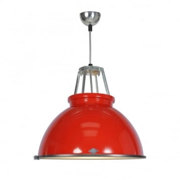 TITAN - Size 3 Ceiling Pendant Light Red With Etched Glass