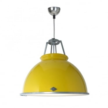 TITAN - Size 3 Ceiling Pendant Yellow With Etched Glass