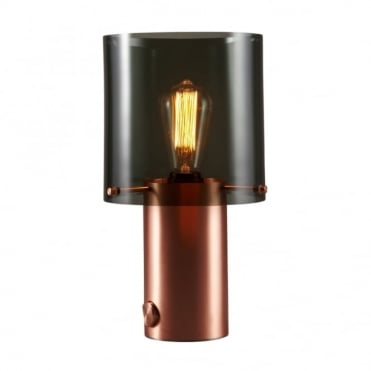 WALTER - Retro Dimmable Table Lamp in Satin Copper with Anthracite Glass Shade