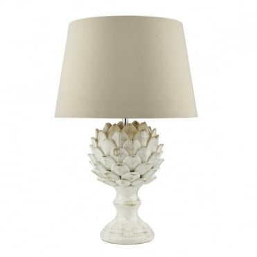 ORRIS - Table Lamp Antique Cream Ceramic Base C/W Ecru Shade