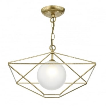 ORSINI - 1 Light Ceiling Pendant Antique Gold Complete With Glass Shade Antique Gold