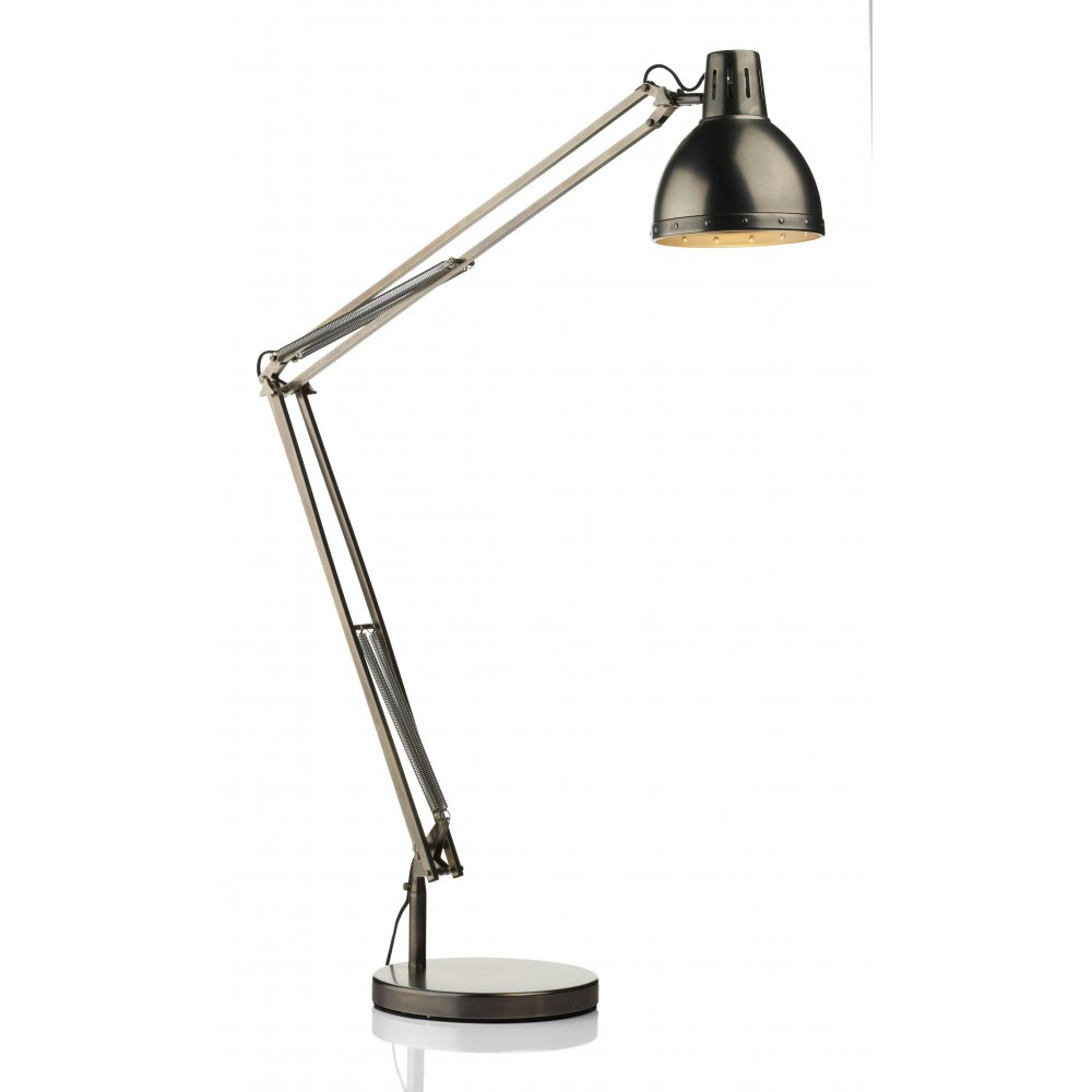 Osaka adjustable antique chrome reading floor lamp