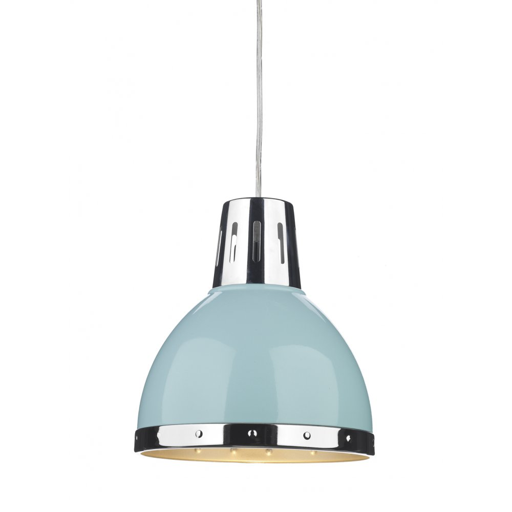 Retro Ceiling Easy Fit Pendant Shade - Blue & Polished Chrome
