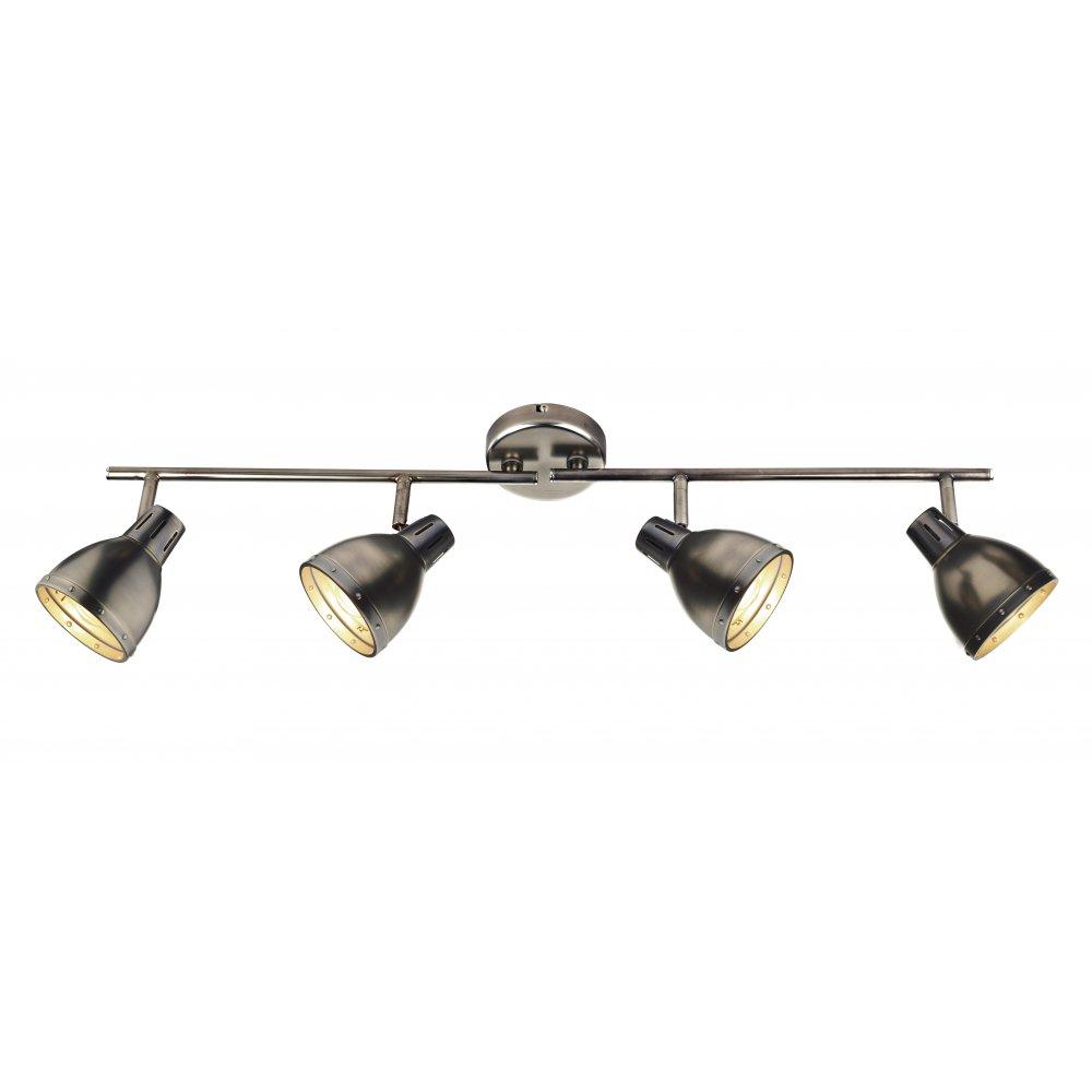 Retro 4 light ceiling spotlight bar in antique chrome osaka spotlight bar with 4 antique chrome spotlights aloadofball Image collections