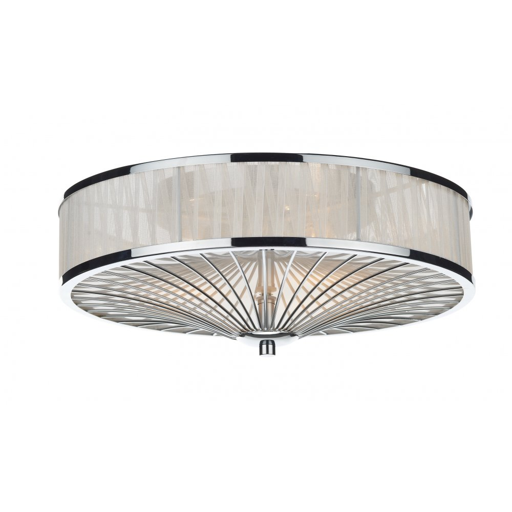 Decorative modern flush ceiling light in chrome with ribbon shade oslo polished chrome and ivory silk pleated border mozeypictures Image collections