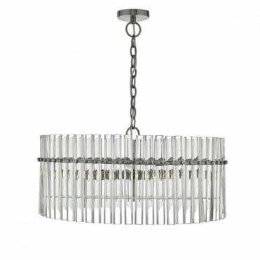 OVATION - 5lt Pendant Ant Chrm Glass Rods