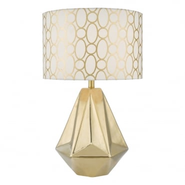 PASADENA Geometric Table Lamp in Mirror Shine Gold with Shade