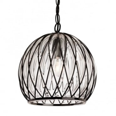 PASCAL Domed Ceiling Pendant in Black Frame with Clear Glass
