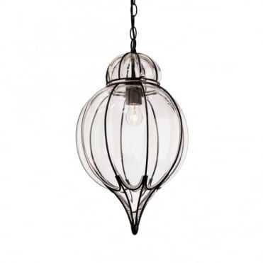 PASCAL Pendant, Black Frame with Clear Glass in Black