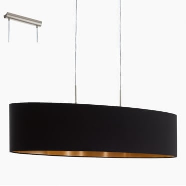 PASTERI Black Copper Oval Island Ceiling Pendant 100cm