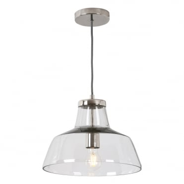PAVEL Ceiling Pendant Polished Nickel with Clear Glass Shade