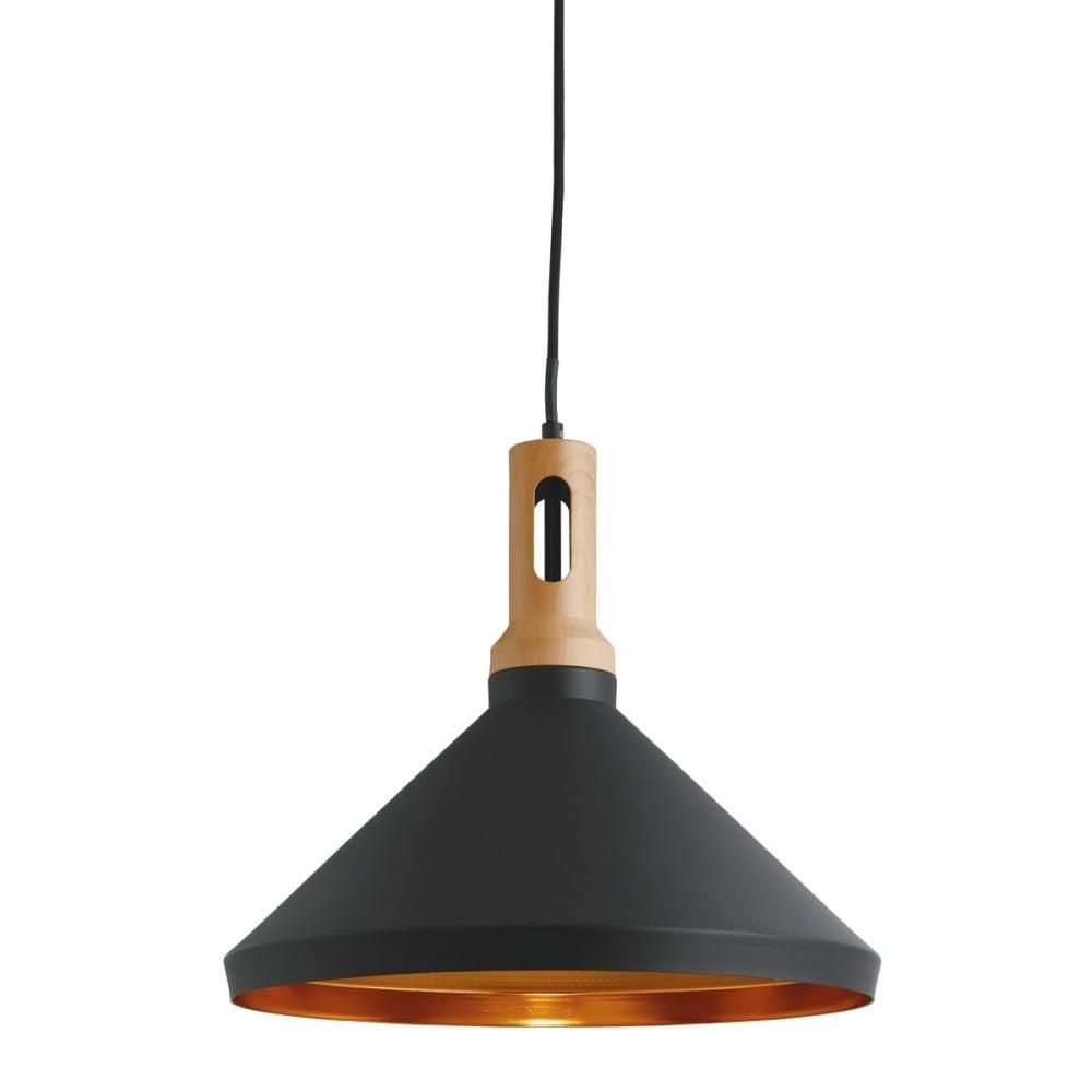 Modern Black Gold Wood Effect Ceiling Pendant Lighting
