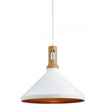 PENDANT - 1 Light Cone Gold Inner White Outer Wood Effect C