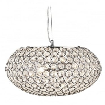 PENDANT - 3 Light Ceiling Pendant Chrome With Clear Crystal