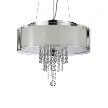 PENDANT - 4 Light Ceiling Pendant Chrome With Frosted Glass And Clea