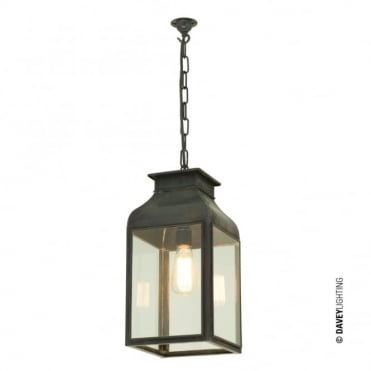 PENDANT - Lantern Weathered Brass Clear Glass