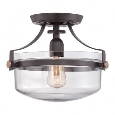PENN - Station Semi Flush in Clear, Bronze